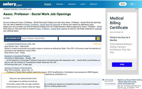 Screenshot of Jobs Page salary.com - Assoc. Professor - Social Work Job Openings | Salary.com - captured Oct. 26, 2018