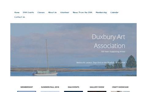 Screenshot of Home Page duxburyart.org - Duxbury Art Association – 100 Years Supporting Artists - captured Oct. 9, 2018