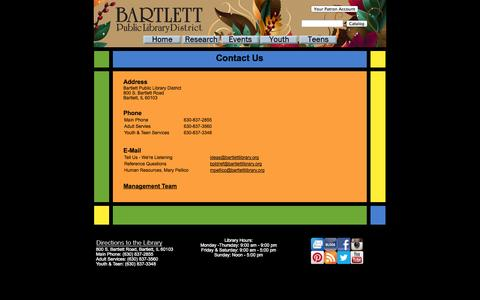 Screenshot of Contact Page bartlett.lib.il.us - Contact Us - captured Oct. 5, 2014