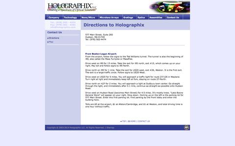 Screenshot of Maps & Directions Page holographix.com - Holographix LLC - Manufacturer of diffraction gratings and replicated optics - captured Oct. 3, 2014