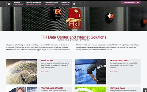 Screenshot of Home Page frii.com - Data Center & Internet Solutions | Front Range Internet, Inc. - captured Feb. 10, 2016