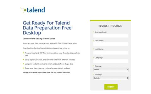 Screenshot of Landing Page talend.com - Get Ready For Talend Data Preparation Free Desktop - captured March 14, 2016