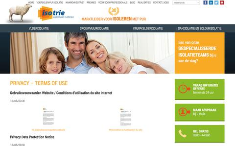 Screenshot of Privacy Page isotrie.com - Privacy - Terms of use - Isotrie | Isotrie - captured July 27, 2018