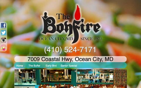 Screenshot of Menu Page thebonfirerestaurant.com - Menu | The Bonfire Restaurant - captured Jan. 11, 2016