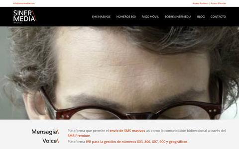 Screenshot of Home Page sinermedia.com - Sinermedia – Plataforma de envío de SMS Masivos - captured Oct. 28, 2016