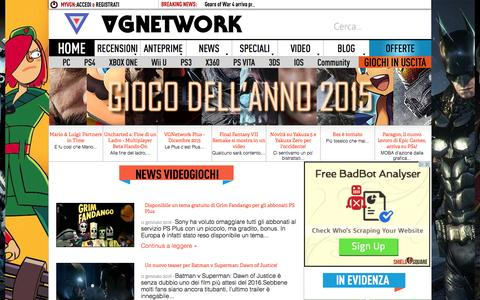 Screenshot of Press Page vgnetwork.it - News Videogiochi e Cinema - Pagina 1 | VGNetwork.it - captured Jan. 10, 2016
