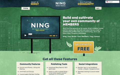 Screenshot of Home Page ning.com - Build and cultivate your own community - Ning.com - captured Jan. 15, 2015
