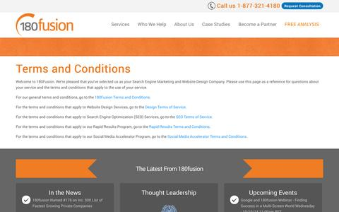 Screenshot of Terms Page 180fusion.com - Terms and Conditions | 180fusion - captured Oct. 10, 2014