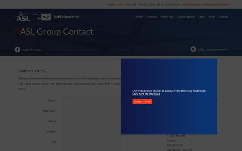Screenshot of Contact Page aslgroup.eu - Contact | We fly. You are the captain. - captured Sept. 20, 2018