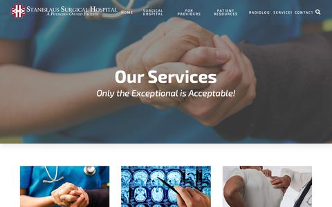 Screenshot of Services Page stanislaussurgical.com - Services - Stanislaus Surgical Hospital - captured Oct. 18, 2018