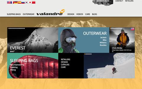 Screenshot of Home Page valandre.com - Valandre - Down Sleeping Bags and Outerwear technology from the Pyrenees - captured Feb. 23, 2016