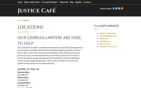 Screenshot of Contact Page Locations Page justicecafe.com - Contact Us | Lawyers in Atlanta - captured Oct. 20, 2018