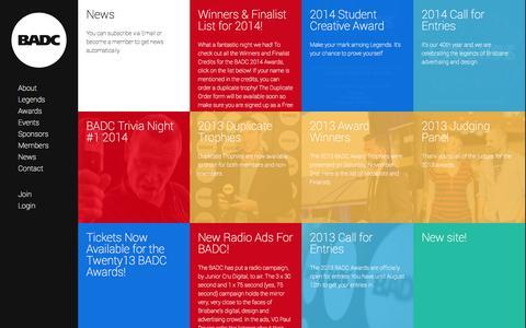 Screenshot of Press Page badc.com.au - BADC | Brisbane Advertising and Design Club | News - captured Nov. 3, 2014