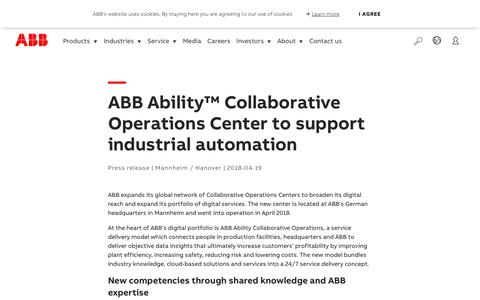 Screenshot of Support Page abb.com - ABB Ability™ Collaborative Operations Center to support industrial automation - captured Nov. 9, 2019