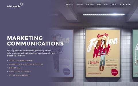 Screenshot of Services Page talktomedia.co.uk - Talk To Media | Marketing, Design, PR & Digital Services - captured Jan. 10, 2016
