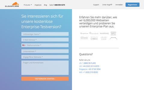 Screenshot of Trial Page cloudflare.com - Anfrage einer kostenlosen Testversion (Enterprise-Plan) | Cloudflare - captured Oct. 11, 2017