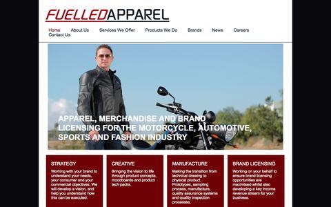 Screenshot of Home Page fuelledapparel.com - Fuelled Apparel - Home - captured Oct. 6, 2014