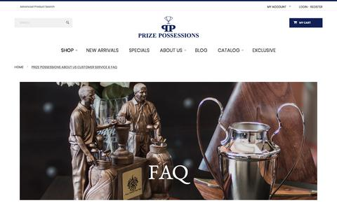 Screenshot of FAQ Page Support Page prizepossessions.com - Prize Possessions About Us Customer Service & FAQ - captured Aug. 23, 2017