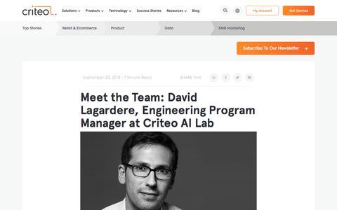 Screenshot of Services Page criteo.com - Meet the Team: David Lagardere, Engineering Program Manager at Criteo AI Lab | Criteo - captured Nov. 18, 2019