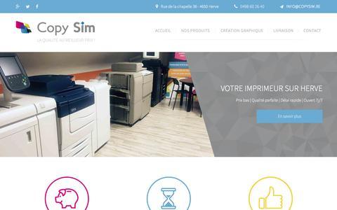 Screenshot of Home Page copysim.be - Copy Sim, imprimerie, photocopies, impression, Herve, Verviers, Liège - captured June 2, 2016