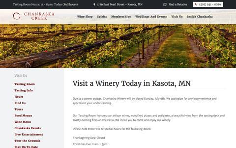 Screenshot of Hours Page chankaskawines.com - Visit a Winery in Kasota, MN | Chankaska Creek Ranch & Winery - captured July 24, 2017