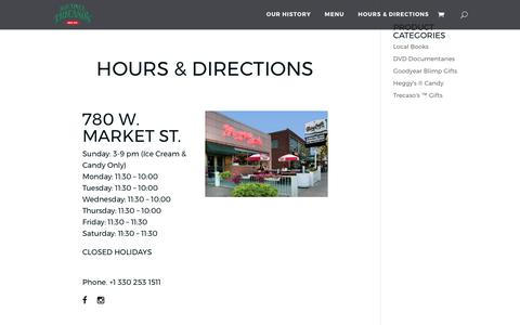 Screenshot of Contact Page Hours Page trecasos.com - Hours & Directions - Michael Trecaso's Italian Restaurant - captured April 23, 2017