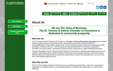 Screenshot of About Page stthomaschamber.on.ca - About Us - St. Thomas & District Chamber of Commerce - ON,ON - captured Dec. 17, 2016