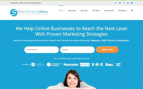 Screenshot of Home Page startrankingnow.com - Start Ranking Now | Online Business Success Path - captured Dec. 15, 2016