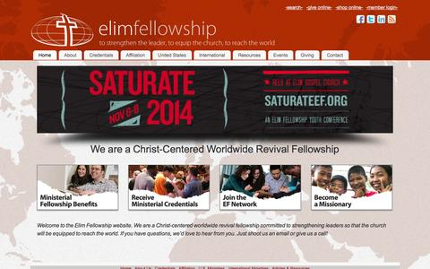Screenshot of Home Page elimfellowship.org - - Elim Fellowship - captured Sept. 29, 2014