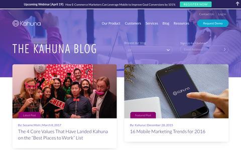 Screenshot of Blog kahuna.com - The Kahuna Blog | Kahuna - captured April 5, 2017