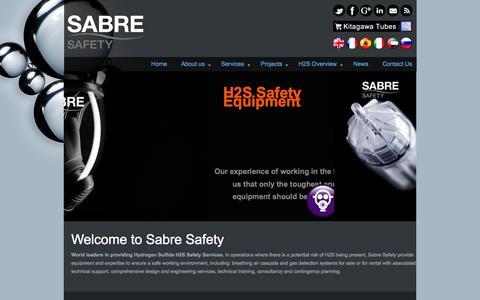 Screenshot of Home Page sabreh2s.com - Sabre Safety - Sabre Safety - captured Oct. 4, 2014