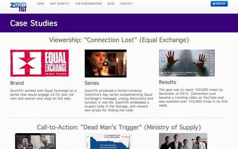 Screenshot of Case Studies Page zoomtilt.com - Video Production - captured Nov. 5, 2014