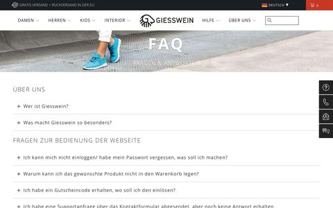 Screenshot of FAQ Page giesswein.com - FAQ  | Giesswein - offizielle Seite vom Hersteller - captured Sept. 22, 2018