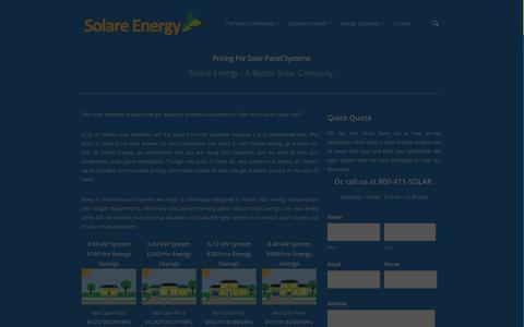 Screenshot of Pricing Page solareenergy.com - San Diego's Solar Solution   Solare Energy - captured Oct. 26, 2014
