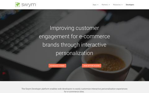 Screenshot of Developers Page swym.it - Developers | SWYM - captured May 29, 2019