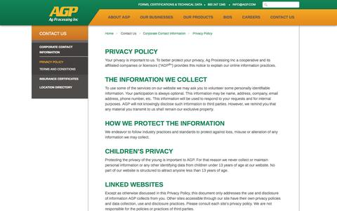 Screenshot of Privacy Page agp.com - AGP - Privacy Policy - captured Oct. 4, 2014