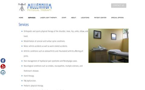 Screenshot of Services Page mptsm.com - Millennium Physical Therapy & Sports Medicine Services | Millennium Physical Therapy - captured Nov. 29, 2016