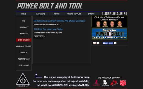 Screenshot of Case Studies Page powerboltandtool.com - Power Bolt and Tool  » Case Studies - captured Sept. 30, 2014