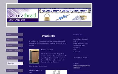 Screenshot of Products Page secureshredscotland.co.uk - Secure Shred Scotland - Products - captured Sept. 30, 2017