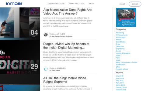 Screenshot of Blog inmobi.com - Blog | Mobile Advertising | Monetization | InMobi - captured July 8, 2018