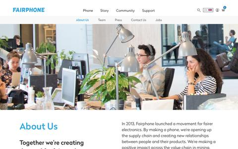Screenshot of About Page fairphone.com - About Us - Fairphone - captured July 6, 2017