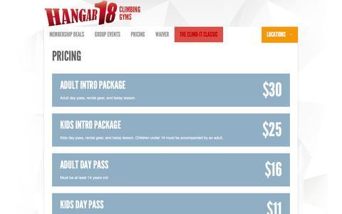 Screenshot of Pricing Page climbhangar18.com - Hangar 18 Upland Indoor Rock Climbing Gym Pricing - captured Feb. 16, 2016