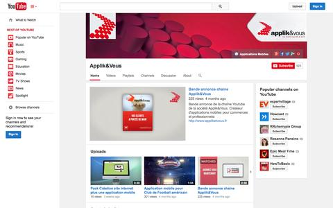 Screenshot of YouTube Page youtube.com - Applik&Vous  - YouTube - captured Oct. 23, 2014