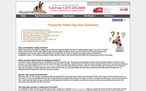 Screenshot of FAQ Page classypetshop.com - Dog Door Frequently Asked Questions - captured Nov. 14, 2017