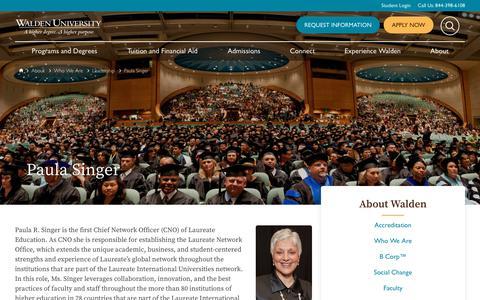 Screenshot of Team Page waldenu.edu - Paula R. Singer | Leadership | Walden University - captured Oct. 14, 2019