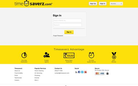 Screenshot of Login Page timesaverz.com - Timesaverz.com: Get home jobs done by trusted agents and relax. - captured Sept. 22, 2014