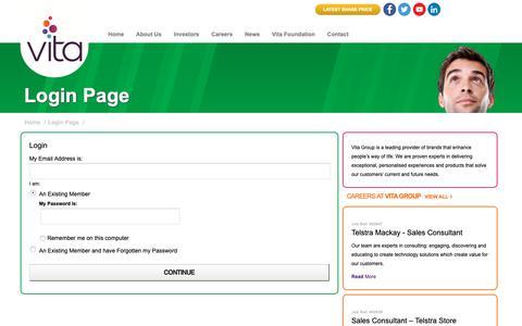 Screenshot of Login Page vitagroup.com.au - Login Page - Vita Group Limited - captured Nov. 27, 2018