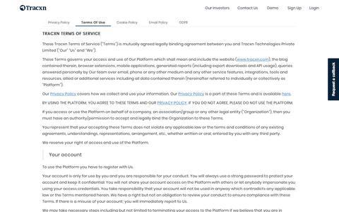Screenshot of Terms Page tracxn.com - Terms Of Use   Tracxn - captured Jan. 16, 2020