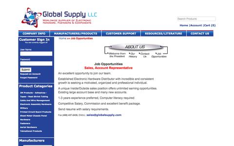 Screenshot of Jobs Page globalsupply.com - Global Supply LLC - captured Jan. 29, 2016