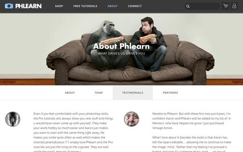 Screenshot of Testimonials Page phlearn.com - Testimonials - captured Sept. 18, 2014